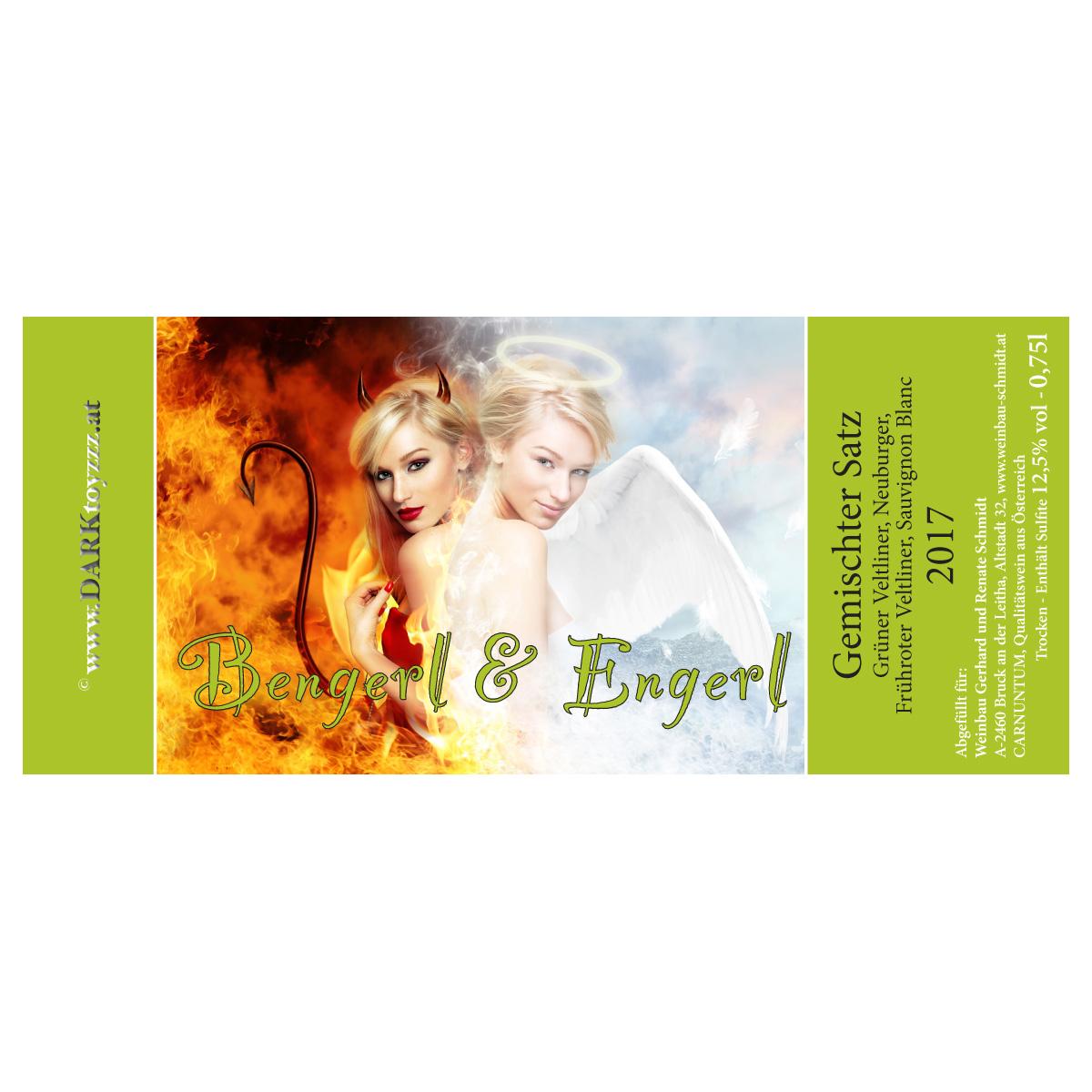 DARKtoyzzz-Weinetikett - Bengerl & Engerl