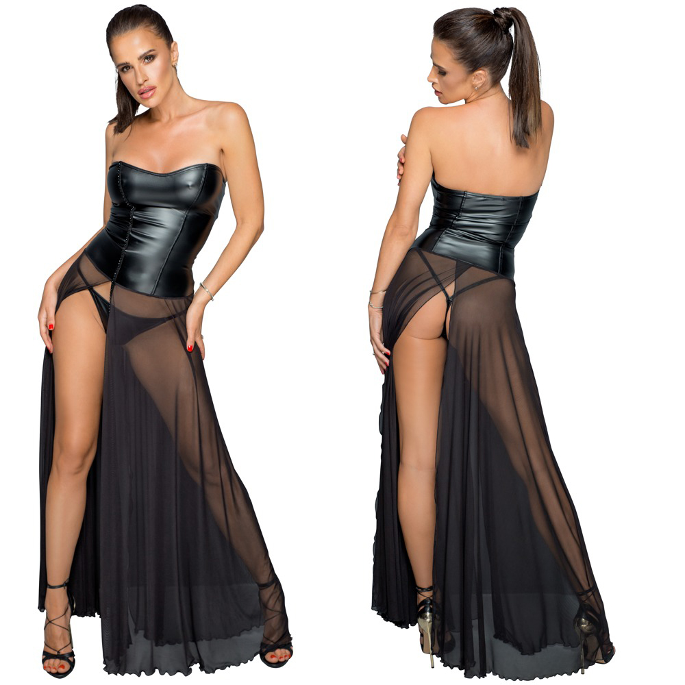NOIR – Bodenlanges Kleid im Mix von matt glänzendem Powerwetlook (Corsage) und transparentem Powernet (Rock)