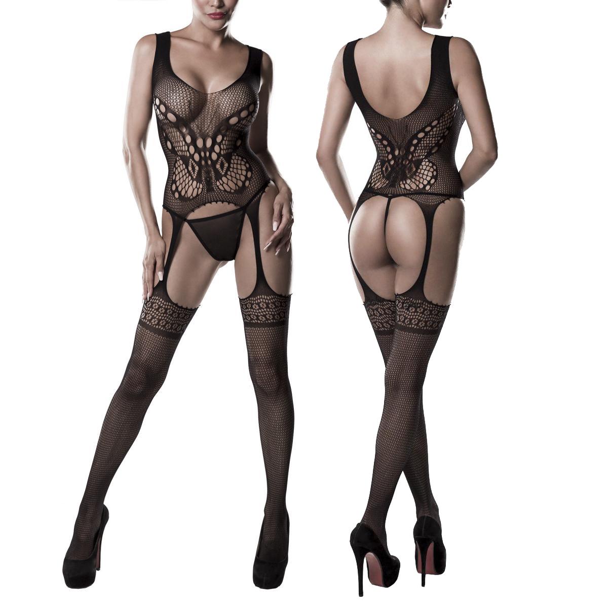 GREY VELVET - Sexy Bodystocking in Straps-Optik