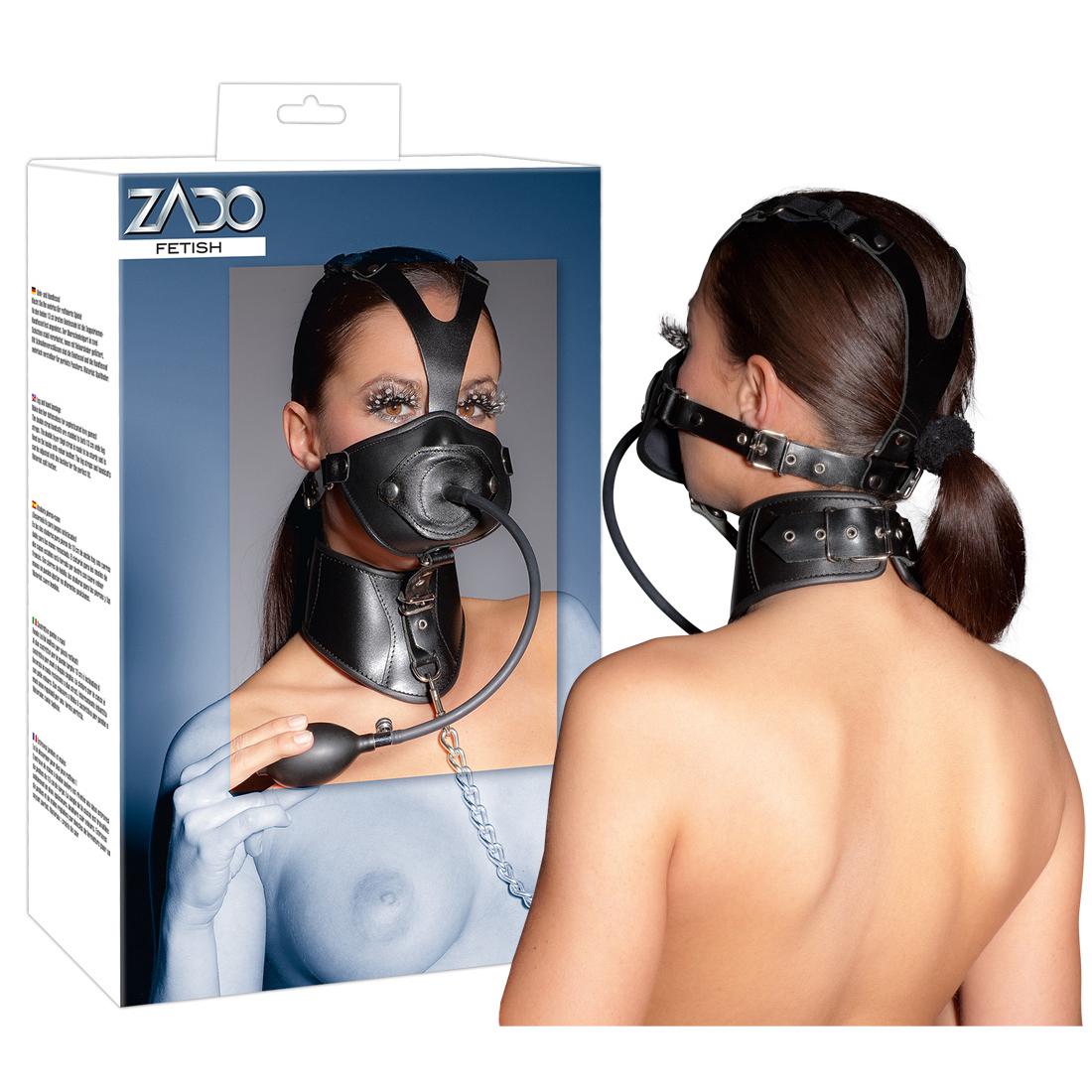 ZADO-Leder-Kopfmaske mit aufpumpbaren Penisknebel