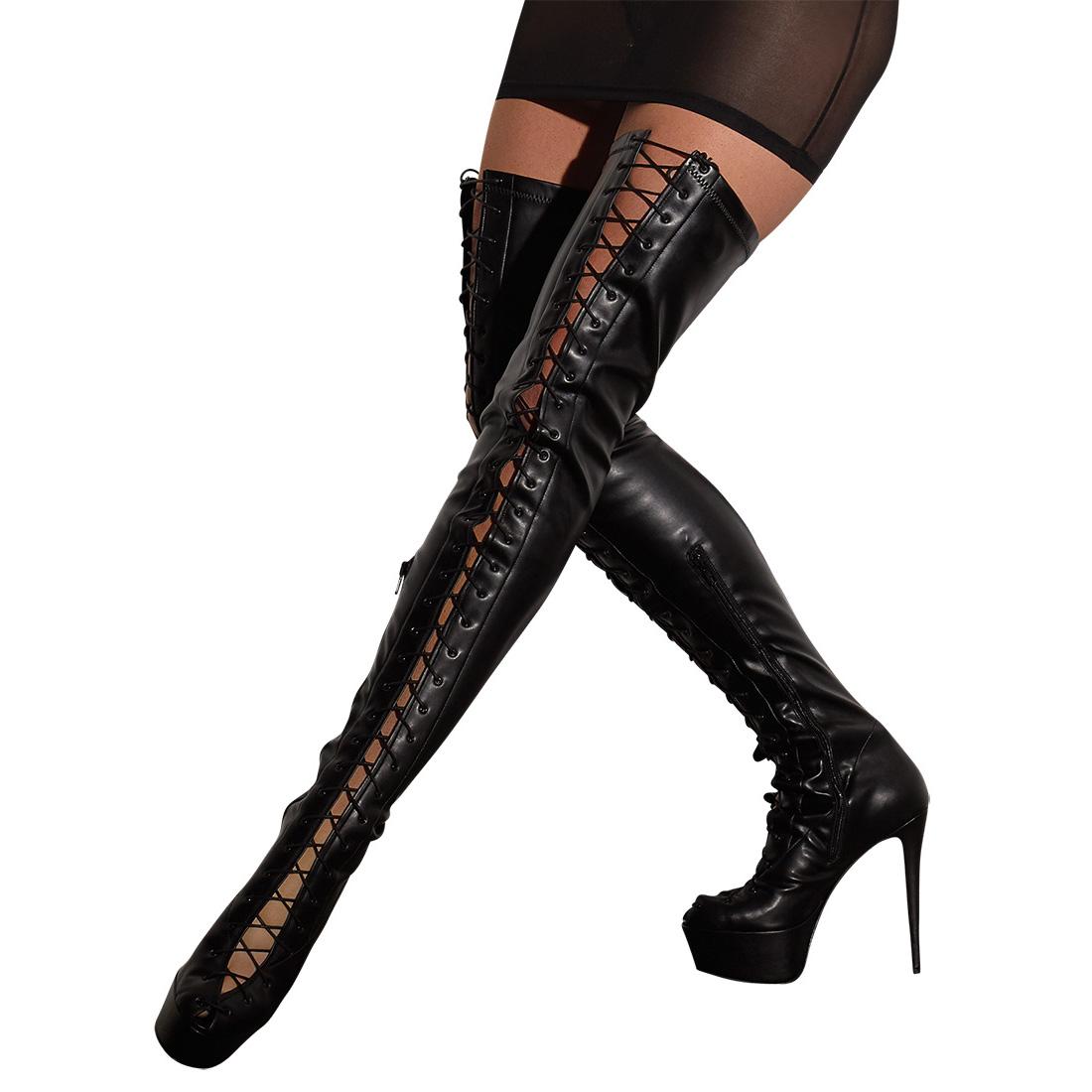 Overknee-Stiefel mit Schnürung