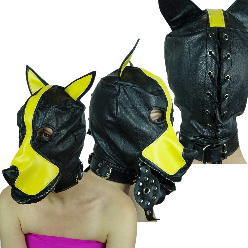 Hundemaske mit Stopfknebel schwarz-gelb