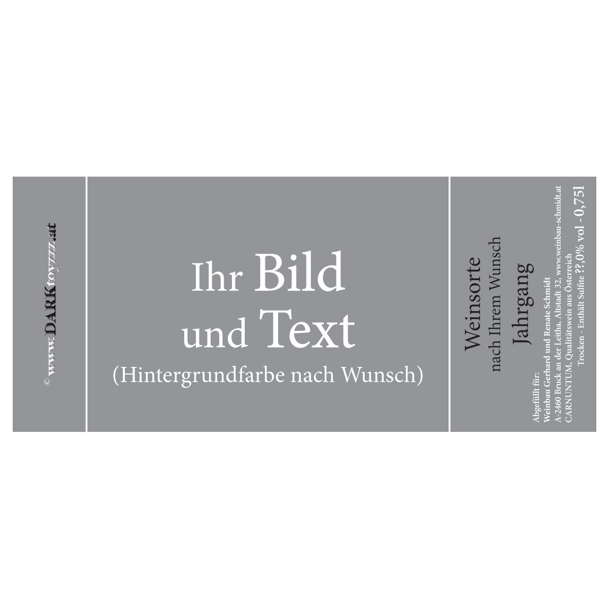 DARKtoyzzz-Weinetikett - Dein Foto und Dein Text - ab 12 Flaschen