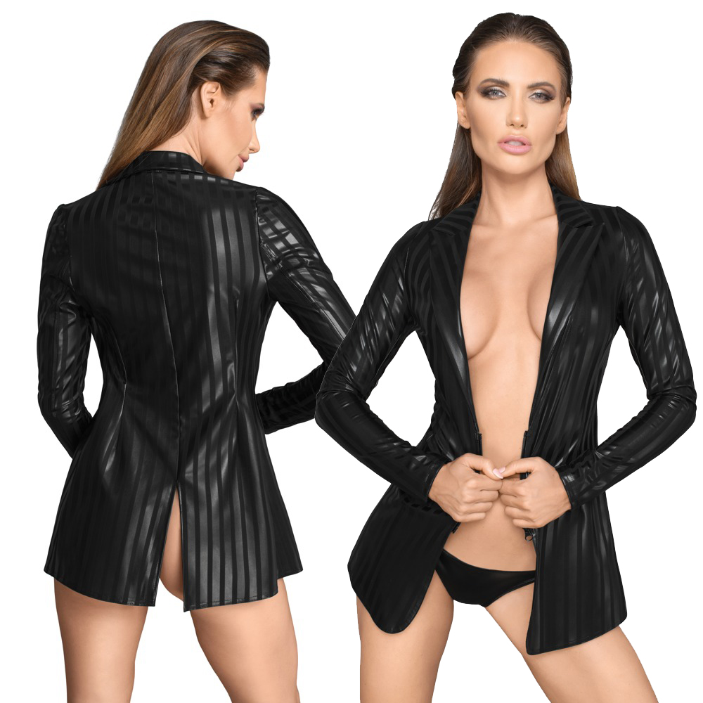NOIR HANDMADE - Sexy Jacke aus Streifen-Powernet-Material