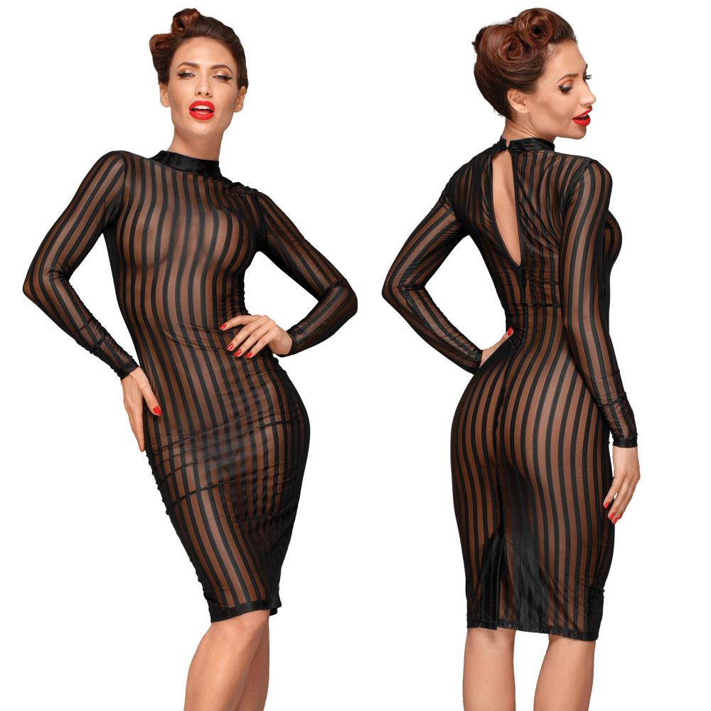 NOIR HANDMADE - Transparentes Kleid mit langen Ärmeln