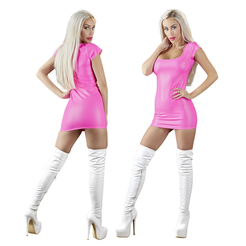 Kleid mit großem Ausschnitt und kurzem Arm pink