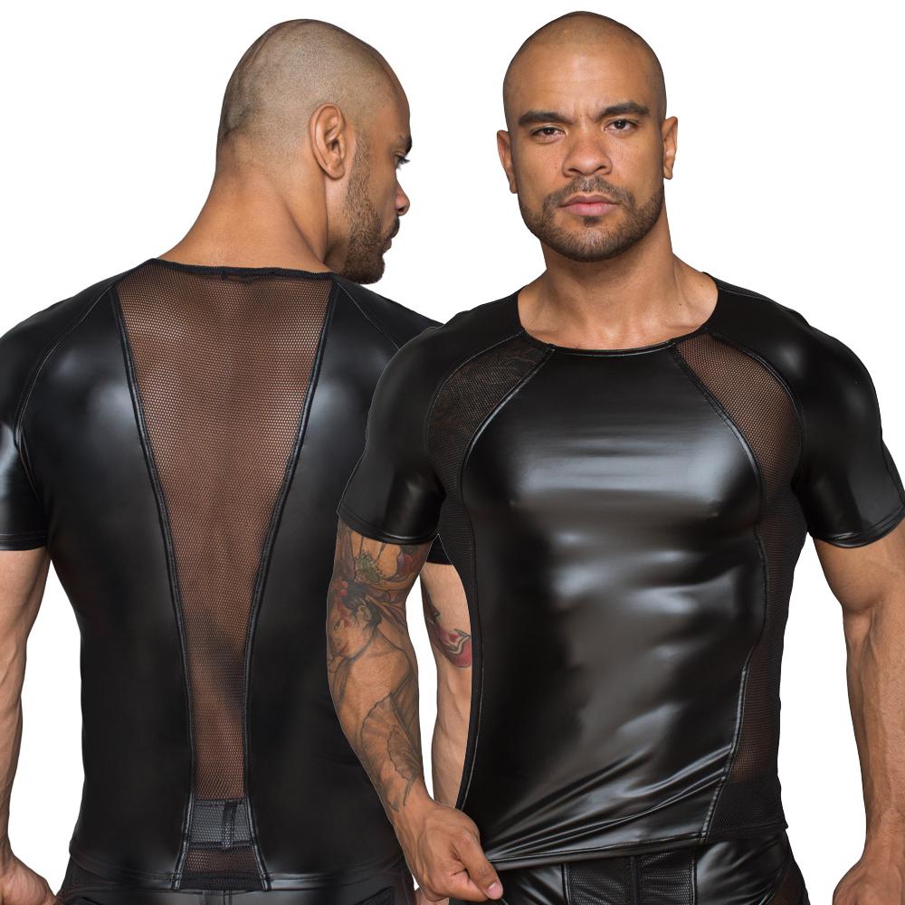 NOIR HANDMADE - Körperbetontes Shirt mit Netzeinsätzen